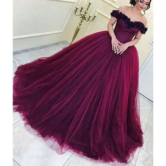a6e204f5b7 Fashion Elegant Off-shoulder Applique Sleeveless Mother Of The Bride Dresses  Wine Red Ball Gown Flowers Top Girls evening Dress