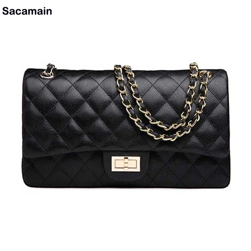 ФОТО Factory Price Classic Flap Genuine Cow Leather Bag Medium 25.5cm Black Caviar Leather Quilted Double Flap Bag Women's Caviar Bag