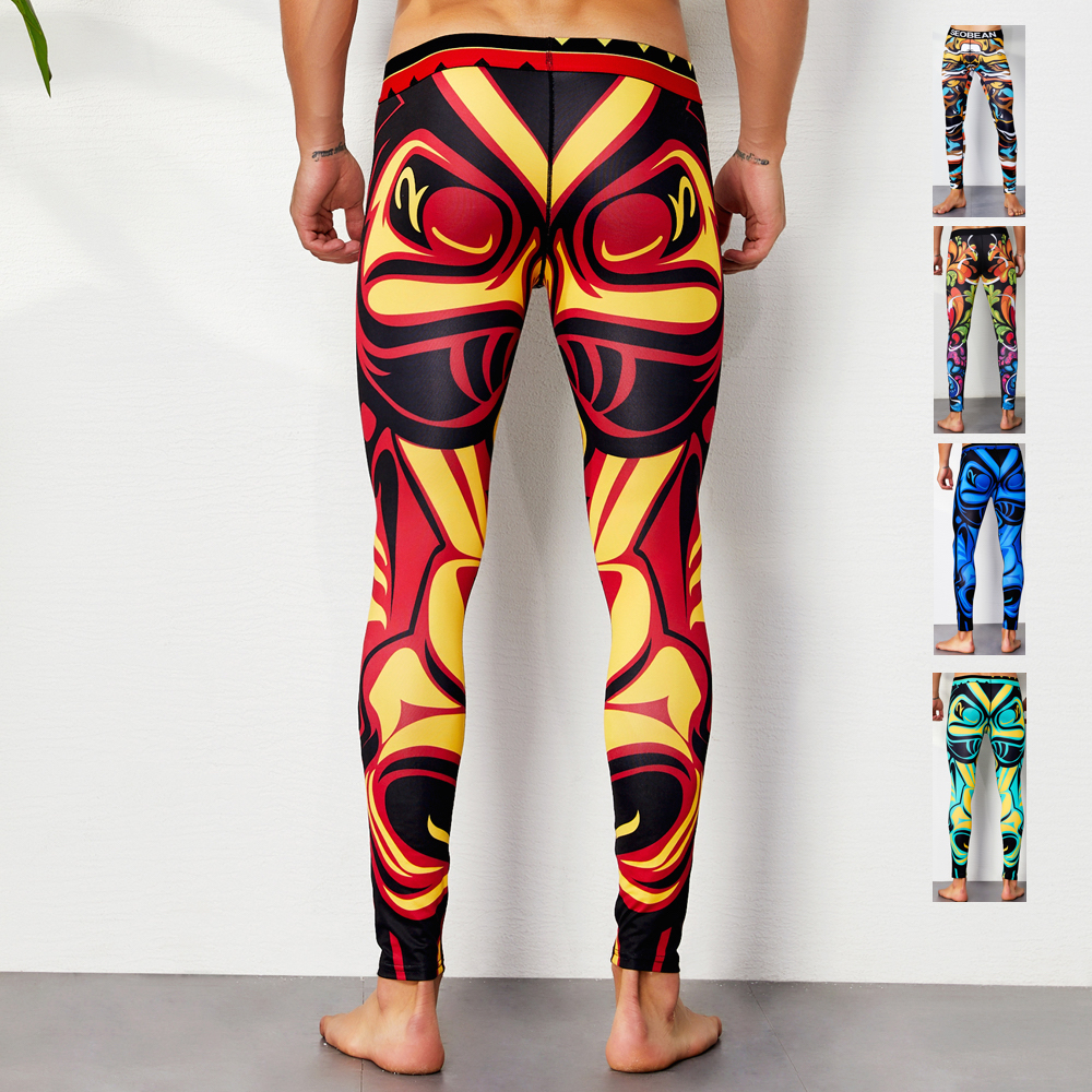 COLORFUL SEOBEAN 2019 winter Tights Autumn Workout fitness Mens sexy Geometrical pattern Long johns Low Rise leggings Underpants image