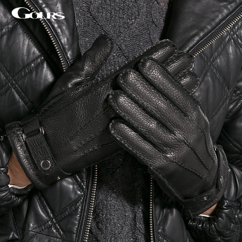 Gours Gloves 2018 Winter New Men Genuine Leather Gloves Deerskin Mittens Black Plus Velvet Warm Fashion Casual Driving GSM014
