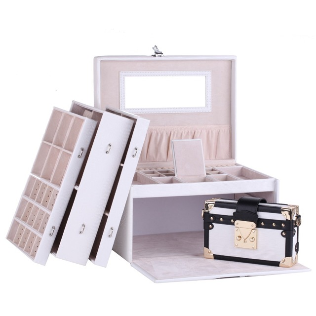 Large White Jewelry Box Leather Jewellery Organizer with Travel