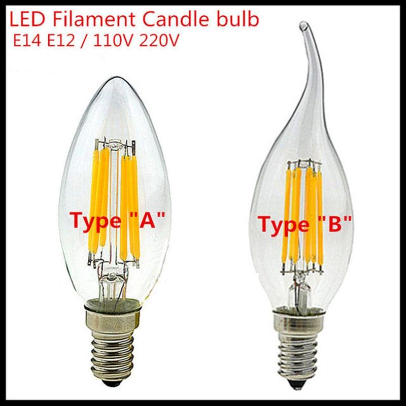 10x led candle bulb e14 e12 dimmable 4w 6w 9w ac110v 220v. Black Bedroom Furniture Sets. Home Design Ideas