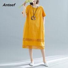10c986e237 yellow cotton linen plus size vintage women casual loose summer elegant  dress clothes 2019 ladies dresses