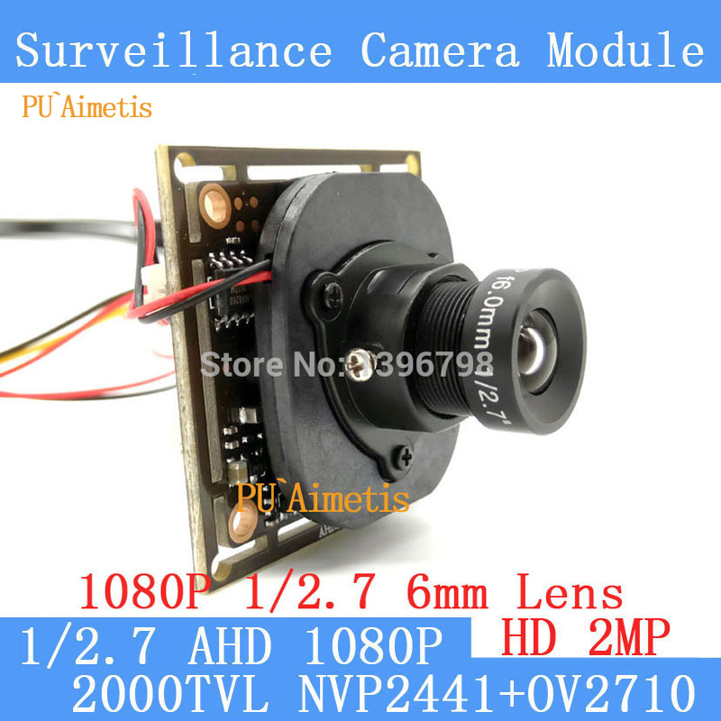PU`Aimetis AHD 2MP CCTV OV2710 Camera Module 1920*1080 AHD 1080P  Low Illumination 0.001lux 2000TVL 1080P 6mm Lens /BNC Cable ahd 2 0megapixel cctv camera module pcb low illumination 0 001lux osd cable dc12v cvbs 2000tvl 3d noise reduction
