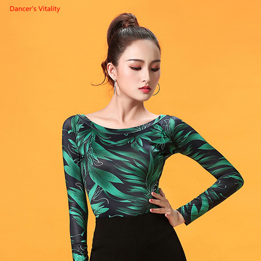 New Latin Dance Top Fashion Print Long Sleeve Dance Clothes Women Ballroom Salsa Rumba Chacha Dance Costumes Hot Sale