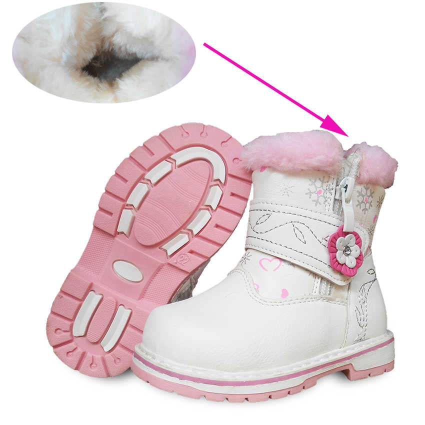 white 1pair PU Leather Children's boot, -20 degree Girl Soft Snow Boot Winter warm Baby Boots, Brand KIDS Shoes