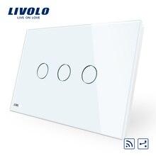 Livolo, переключатель, AU/стандарт США, 3-gang 2-полосная беспроводной пульт дистанционного управления Переключатель 220 V, с украшением в виде кристаллов Стекло Панель, светодиодный индикатор, через крест