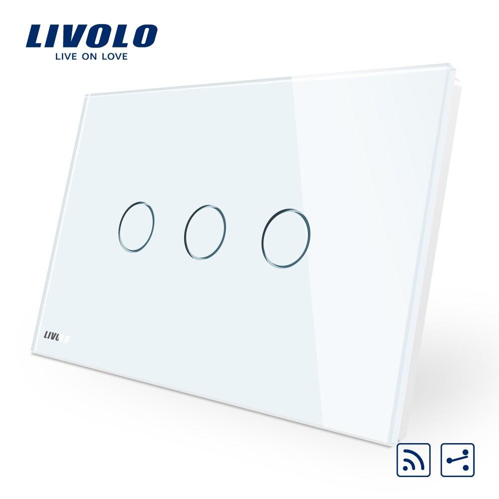 Livolo interruptor, AU/US estándar, VL-C903SR-11, 3-gang 2 vías de control remoto inalámbrico interruptor 220 V, Panel de cristal, indicador LED