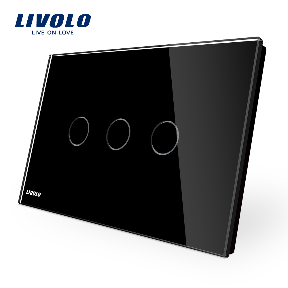 LIVOLO Wall Switch, Black Crystal Glass Panel, 110~250V, 3-gang Touch Control Light Switch VL-C903-12, AU/US standard smart home us black 1 gang touch switch screen wireless remote control wall light touch switch control with crystal glass panel
