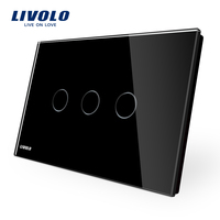 Manufacturer LIVOLO Wall Switch Black Crystal Glass Panel 110 250V 3 Gang Touch Control Light Switch