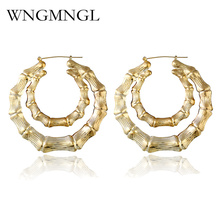 WNGMNGL High Quality Alloy Simple Metal Jewelry Big Gold/Silver Color Round Hoop Earrings For Women Brinco Feminino Gift