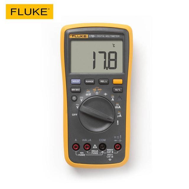 فلوك مقياس رقمي 17B+ متعدد الوظائف, جهاز فحص فولتية التيار المتردد/التيار المستمر، السعة الكهربائية، التيار، المقاومة، درجة الحرارة، قياس الدرجة تلقائيًا/يدويًا