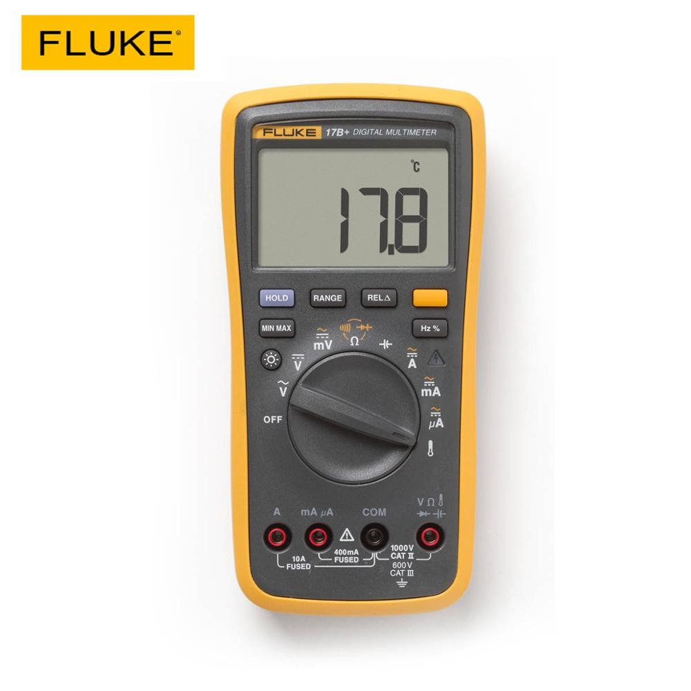 FLUKE 17B+ Digital multimeter AC/DC Voltage Current Capacitance Ohm Temperature tester Auto/Manual Range Measurement-in Multimeters from Tools