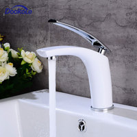 Bathroom Vanity Sink Faucet Single Handle Single Hole Deck Mounted, Washroom Basin Mixer Taps Brass White Finished