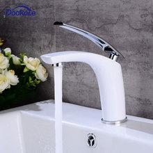 Vaidade do banheiro torneira da pia único punho único furo deck montado, lavatório bacia torneiras misturadoras de bronze branco terminado