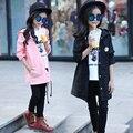 2017 весной новой Корейской девушки мультфильм сплошной цвет в больших детей с капюшоном в длинный участок ветровка