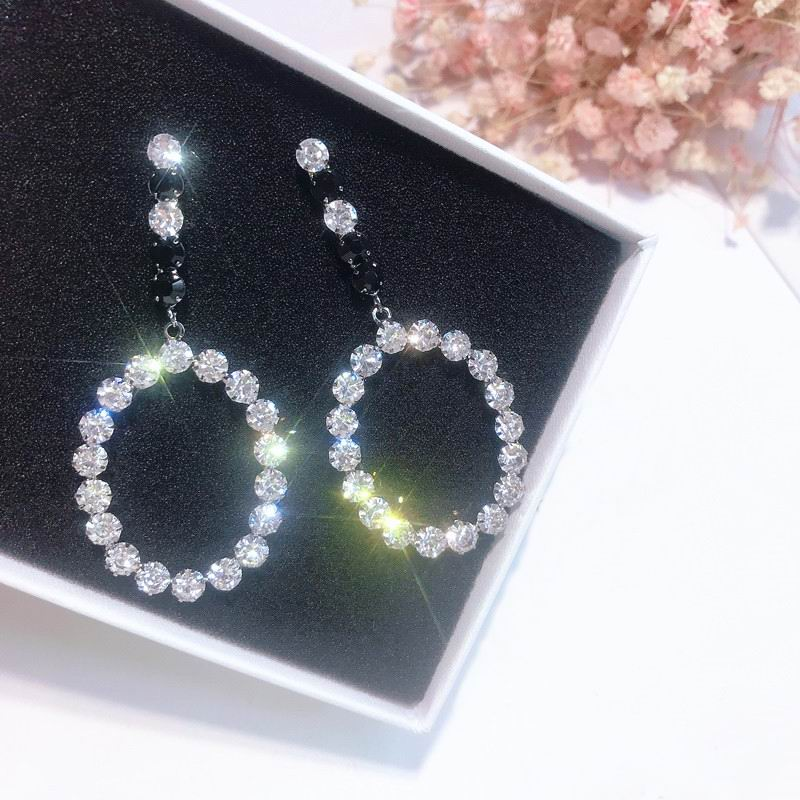 Luxury Oval Crystal Long Drop Earrings For Women Party Wedding Jewelry Accessories Big Statement Pendientes Bijoux Femme Gift in Drop Earrings from Jewelry Accessories