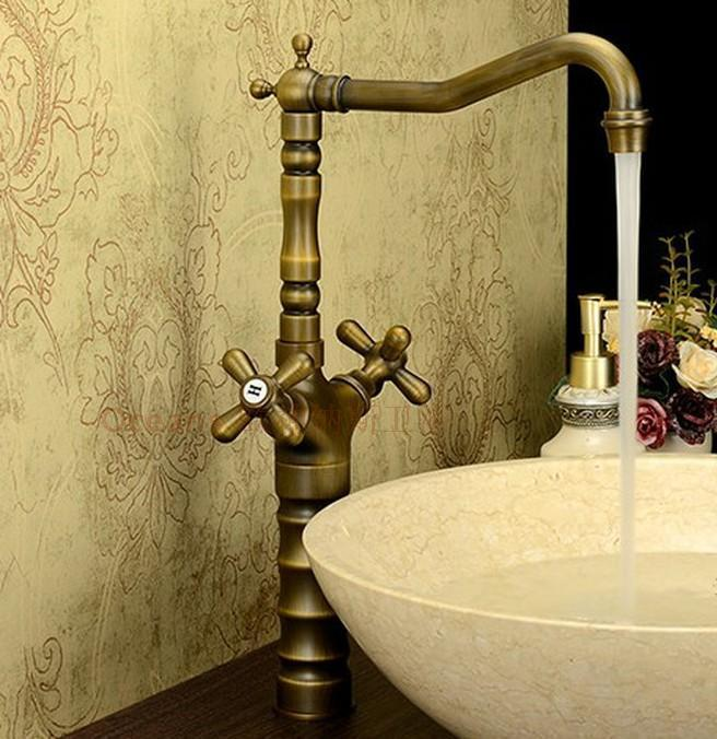 Chegada nova oferta especial Europeu retro bronze água quente e fria Único furo de lavatório sit-banhado Luo genuíno correio