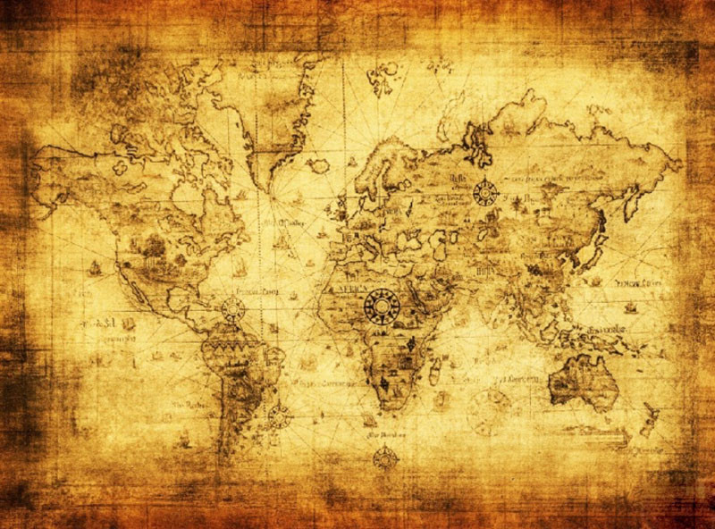 SuperDeals - 1PC Polyester Retro world map wall decor vintage ...