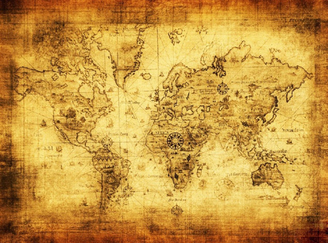 1PC Polyester Retro World Map Wall Decor Vintage Antique Old World Sea Map  Ornament Gifts Poster
