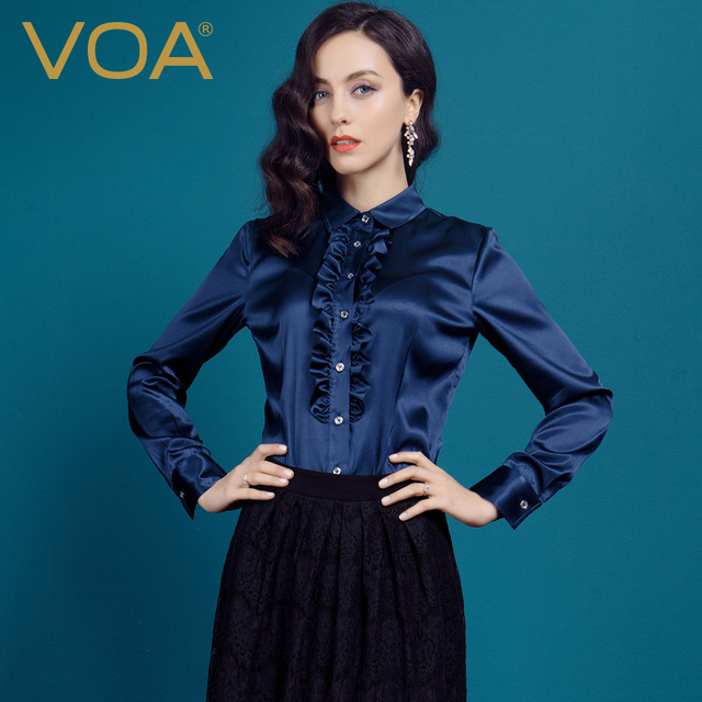 2e38080c VOA Fashionable Ruffled Collar Silk Blouse Women Dark Blue Color Long Sleeve  2017 Shirts B1090