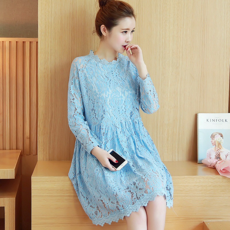 7eb9123a423 Maternity Clothes Autumn New Arrival Dresses for Pregnant Women Fashion  Hollow Lace Solid Loose Casual Plus Size Pregnancy Dress-in Dresses from  Mother   ...