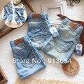 Бесплатная доставка в розницу новые 2013 весна осень детская джинсы мальчик брюки девушки свободного покроя брюки одного тонкого джинсовая одежда