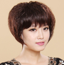 BOB fluffy female short wig high temperature wire oblique bangs real hair