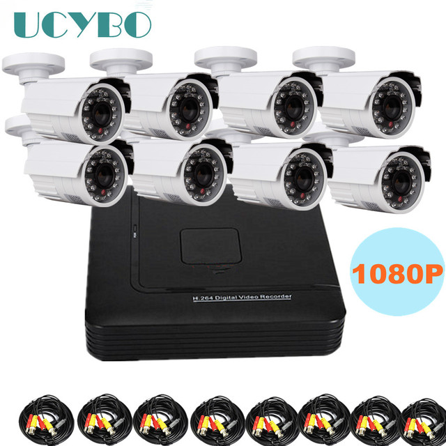 8 channel cctv ahd camera dvr kit combo outdoor video surveillance 1080P HD 2000TVL 2.0MP camera surveillance 8CH AHD DVR system