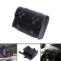 Universal Black Leather Motorcycle Barrel Saddle Bag For Harley Softail Touring Sportster Luggage Storage Tool Pouch #MBH252