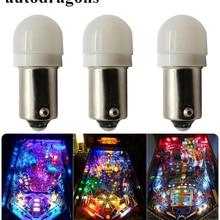 Autodragons 50 шт. Frost купол Ba9s#44#47 штык Флиппер светодиодный свет/пинбол светодиодный огни AC 6 В 6,3 В анти мерцающего пинбол светодиодный