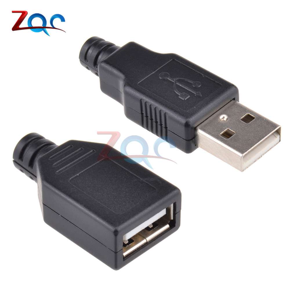 10pcs USB 2.0 Type A Male Female USB 4 Pin Plug Socket Connector With Black Plastic Cover Type-A DIY Kits