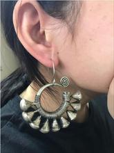 Hot selling new-Wholesale-hot >> Tibetan Charm Tribal Jewelry Miao Silver Large Hollow Earrings Pair