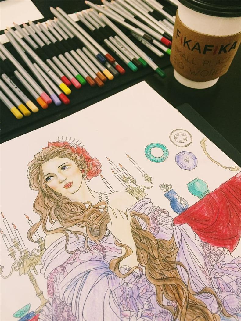 Belleza y la Bestia libro para colorear para los niños adultos cómico aliviar el estrés graffiti jardín secreto diseño libros para colorear en ...