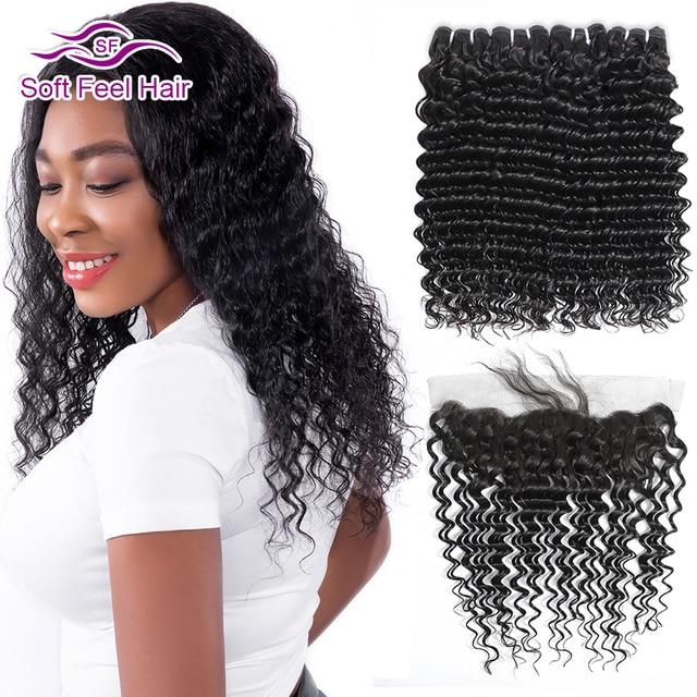Soft Feel Hair Brazilian Deep Wave Bundles With Frontal Remy Human Hair Bundles With Frontal Lace Frontal Closure With Bundles