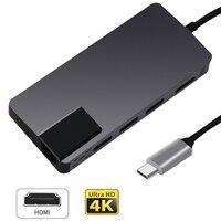 Type C To HDMI 4K 1000M RJ45 USB 3.1 PD 2.0 USB 3.0 Card Reader 8 IN 1 HUB Adapter For Laptop Multiple hub Switch USB Splitter