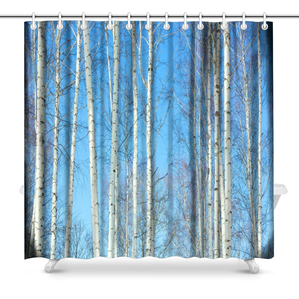 the Slender Trunks of Birch Trees on a of the Blue Sky of Spring Polyester Fabric Bathroom Shower Curtain Set with Hooks,