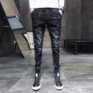 Image 2 - שחור מזדמן ג ינס גברים צד פסים שטף שרוך ג ינס מכנסיים זכר 2020 חדש Slim Fit למתוח מכנסי עיפרון איש