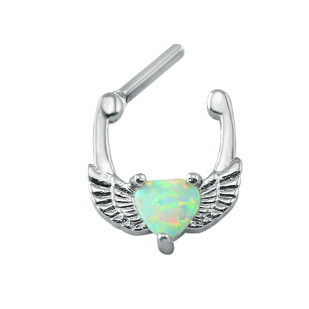 1Pc Stainless Steel Heart Opal Real Pieced Nose Ring Septum Clicker ...