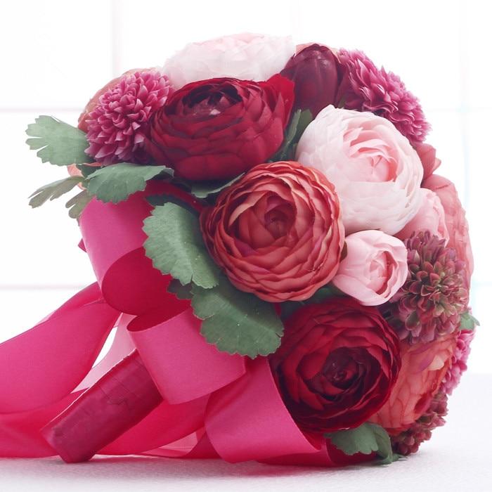 Бесплатная доставка Красный Искусственный Пион Букет для свадьбы невесты подружки невесты вечерние украшения цветок ручной работы