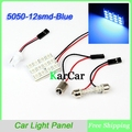 Blue 12 SMD 5050 LED Panel Light LED Car Auto Interior Dome Plate Bulbs Light Car Interior Dome LED Bulb