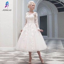 Classical Tea Length Long Sleeves Wedding Dresses With Lace Appliques Tulle V Neck Back Buttons Bride