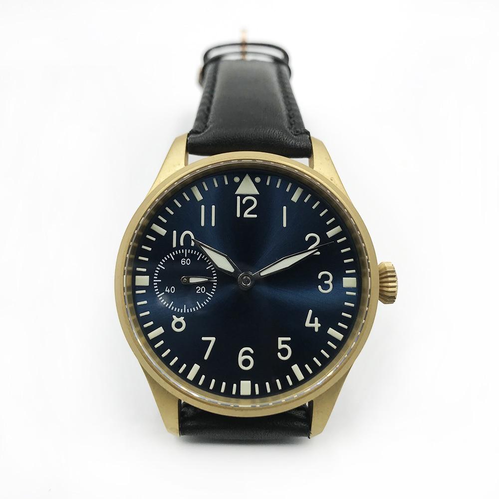 Montre à remontage manuel pour hommes montre-bracelet vintage pilote en laiton 50 m résistant à l'eau ST3600 saphir verre mécanique main vent montres