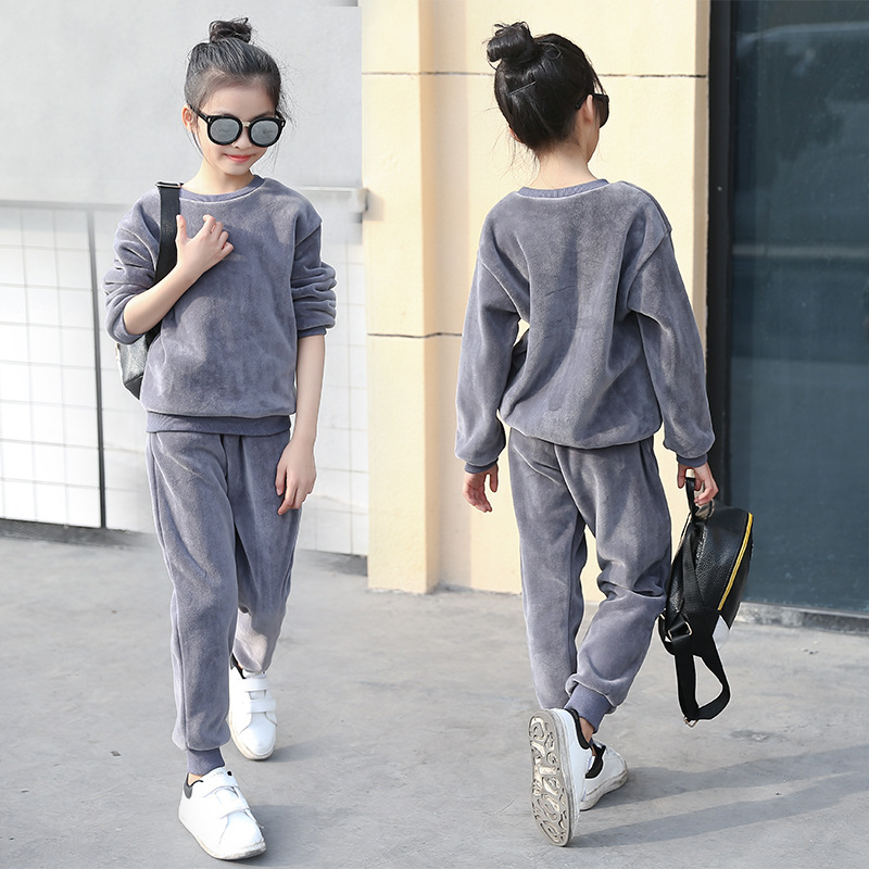 Girls Double Velvet Tracksuits 2018 Spring Children Clothing Baby Girls Cotton Clothing Sets Child Clothes Kids 5-13  Years old spring outfits for kids