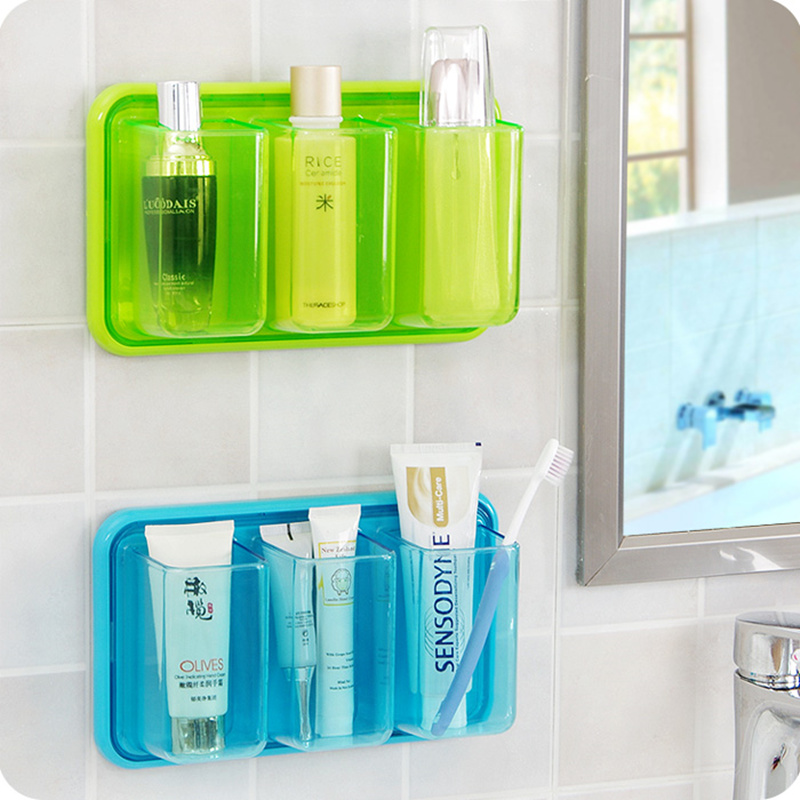 the best attitude 53abb 315f4 US $14.07 10% OFF|High quality plastic 3 grids bathroom toothbrush holder  Self adhesive wall shelf kitchen debris storage rack-in Bathroom Shelves ...
