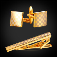 Tie Clip Sets For Mens Wedding Fashion Classic Square Luxury Exquisite Men yellow Gold/Silver Color Tie Bar & Cufflinks CTC1940