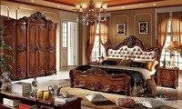 Кровать из массива дерева, модная, европейская, французская, резная, прикроватная кровать 1,8 м
