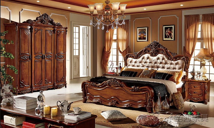 Solid Wood Bed Fashion European French Carved Bedside 1.8 M Bed