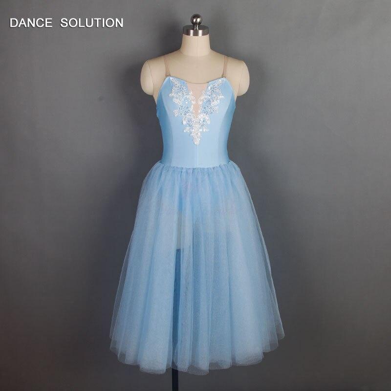 e72b63ce4 Compre Vestido Longo Romântico Céu Azul Ballet Tutus Spandex ...