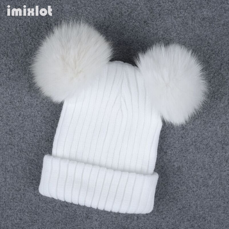 Imixlot Faux Fur Pompom Hat Women Winter Caps Knitted Woolen Cotton Hats Two Pom Poms Skullies Beanies Bonnet Girls Female Cap mother and kids 2017 winter caps fur pom poms hats for women faux fur beanies wool knitted pompom hat baby boys girls skullies